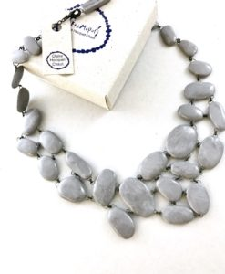 Unique necklace made of a random set of ceramic stone beads, hand made in France