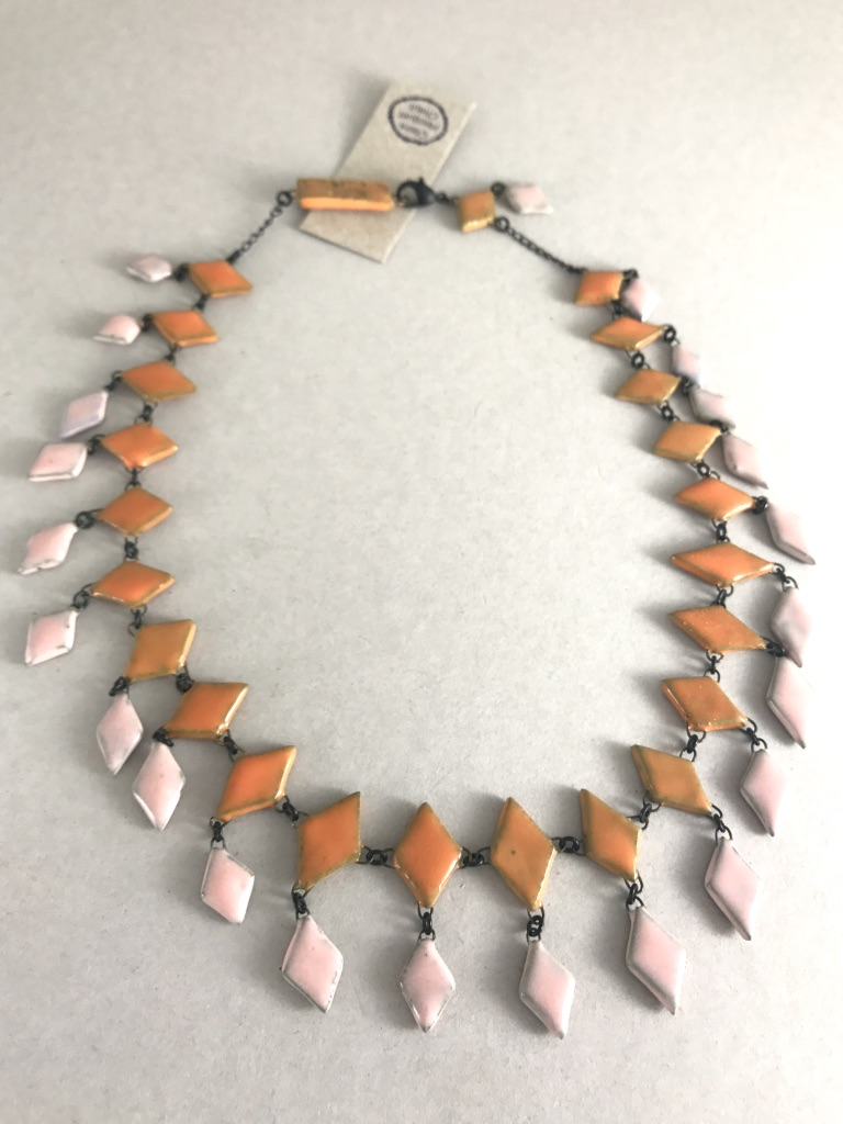 Colored ceramic diamond shape crew necklace made in France
