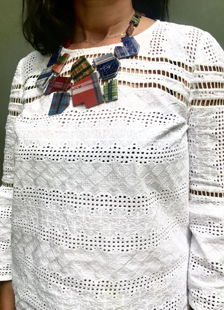 Tartan patchwork like ceramic breast necklace